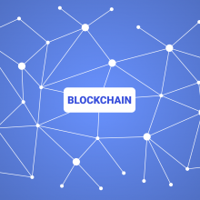"Word ""blockchain"" written on the blue background."